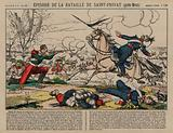 Wounded French dragoon shooting a Prussian lancer at the Battle of Saint-Privat, Franco-Prussian War, 18 August 1870