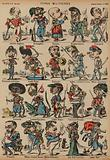 Caricatures of military figures