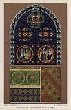 Window from the Basilica of St Denis and wall decoration from the Sainte-Chapelle, Paris, France