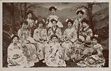 Portrait of a group of Western women dressed in traditional Japanese costume