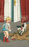 Naughty boy urinating onto a bearskin rug