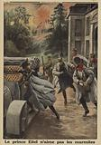 Prince Eitel Friedrich of Prussia, second son of Kaiser Wilhelm II of Germany, fleeing in panic as his headquarters at …