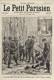 Prussian soldiers torturing a French postman in the Foret de Saint-Germain for carrying messages across the lines …