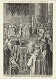 Coronation of Tsar Nicholas II of Russia: the Tsar receiving the Imperial Sceptre in the Cathedral of the Assumption, …
