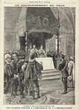 Coronation of Tsar Nicholas II of Russia: toasts to the Tsar and Tsarina at the Coronation dinner in the Andreevsky …