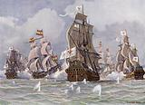 The Brandenburg squadron commanded by Thomas Alders attacking a Spanish treasure convoy of Cape St Vincent, Portugal, …