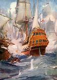 Robert Blake and Admiral Van Tromp, 1652