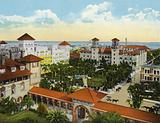 Bird's Eye View of Alcazar and Cordova Hotels from the Ponce de Leon, St Augustine, Florida