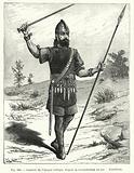 Guerrier de l'epoque celtique, d'apres la reconstitution du mu d'artillerie