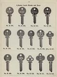 Page from metalwork catalogue: Cylinder latch blanks and keys