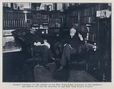 Andrew Carnegie, in the library of his New York home, dictating to his secretary the deed of gift for the branches of …