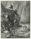 """Gustave Dore's Don Quixote: """"A vast lake of boiling pitch, in which an infinite multitude of fierce and terrible …"""""""