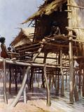 In the Pile Dwellings at Hanuabada, Port Moresby, British New Guinea