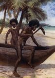 Finishing off a Canoe, British New Guinea
