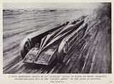 """A vivid impression, drawn by an """"autocar"""" artist, of Major Sir Henry Segrave's record-breaking run in the """"Golden …"""""""