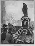 Laying wreaths at the foot of the statue of English statesman Benjamin Disraeli on Primrose Day, the anniversary of …