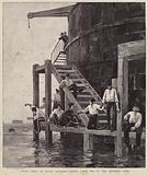 British soldiers fishing from one of the forts at Spithead, Hampshire