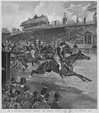 Euclid, owned by A Kilsyth, winning the Jubilee Stakes horse race at Kempton Park racecourse, Surrey, 1892