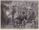 Furnace of Italian glassmakers Salviati at the Venice in London exhibition at Olympia, 1892