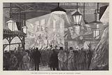 New installation of electric light at Smithfield Market, London, 1892