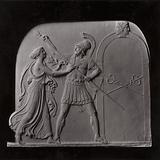 Peace Preventing Mars From Opening the Gates of Janus, Wedgwood china and blue ball clay bas-relief or tablet designed …