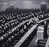 British Prime Minister Clement Attlee addressing the first session of the General Assembly of the United Nations, …
