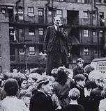 British Labour Party leader Clement Attlee campaigning on his way to victory in the 1945 UK General Election
