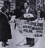News of Nazi Germany's invasion of Poland, the start of the Second World War, 1 September 1939
