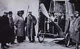 French aviator Louis Bleriot (fourth from left) with the aeroplane in which he made first flight across the English …