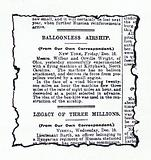 News report in the Daily Mail of the first successful aeroplane flight by the Wright Brothers on 17 December 1903