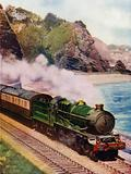King Charles II, Great Western Railway (GWR) King class 4–6–0 steam locomotive, hauling the Cornish Riviera express …