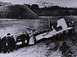 French aviator Louis Bleriot's aircraft after landing at Dover having made the first successful powered flight across …