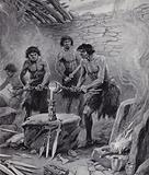 Men working in a foundry during the Bronze Age
