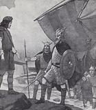 Brothers Hengist and Horsa arriving at Ebbsfleet, Isle of Thanet, Kent, during the invasion by the Angles, Saxons and …