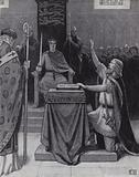 Harold Godwinson swearing an oath on sacred relics to support William, Duke of Normandy's claim to the English throne