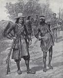 William Dampier with an indigenous man during his exploration of Australia, late 17th century