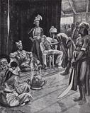 Sir James Brooke negotiating a treaty with the Sultan of Brunei for establishing a British colony on Borneo, 1842