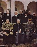 Conference of Allied leaders Winston Churchill, Franklin D Roosevelt and Joseph Stalin at Yalta, Crimea