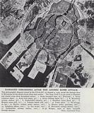 Aerial view of the damage inflicted on the city of Hiroshima by the first atomic bomb dropped on Japan by the …