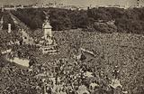 Crowds outside Buckingham Palace clamouring for an appearance by the King on VJ Day, London, 15 August 1945