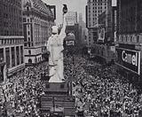 Crowds on Times Square, New York City celebrating the surrender of Japan to end World War II, August 1945