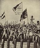 Allied prisoners of war captured by the Japanese in World War II celebrating their release after Japan's surrender, …