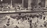 People in the open air swimming pool at the Gellert Baths, Budapest
