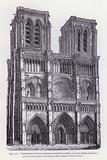 Notre-Dame de Paris, douzieme et treizieme siecle, vue de la facade principale, avant la restauration executee par MM …