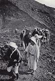 Pilgrims encircling the crater of sacred Fujiyama