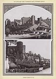 The South East View of Brecknock Castle, Eighteenth Century; Brecon Castle to day