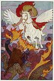 Pegasus started right toward the Chimera's threefold head
