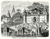 Hindus bathing in the sacred waters of the River Ganges from the ghats of Benares (Varanasi), India