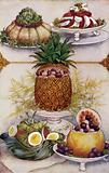 Arrangements for serving salads in hollowed out fruits