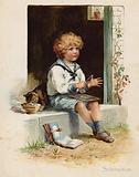 Little boy sitting on a doorstep doing subtraction
